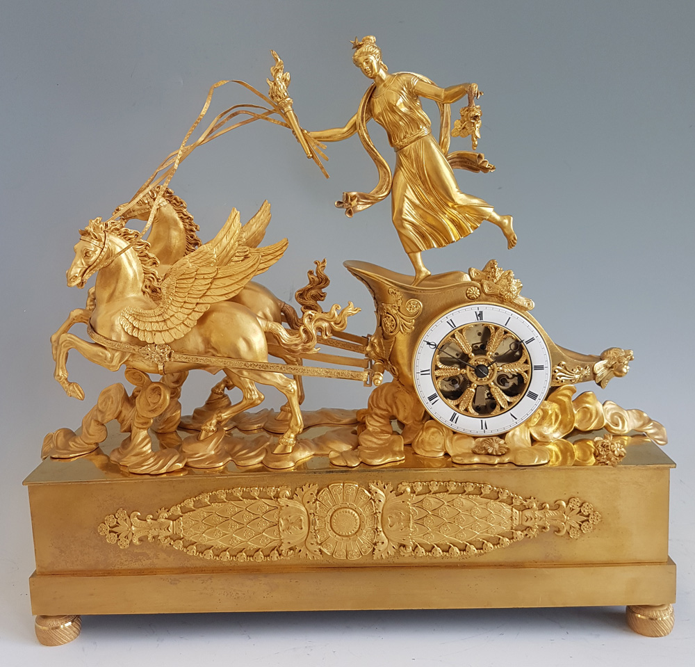 Rare French Empire Ormolu Mantel Clock Of Aurora in her Chariot