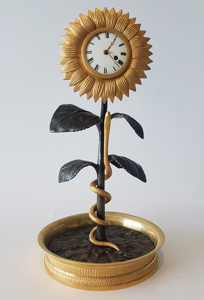 French Empire Ormolu and Patinated Bronze Sunflower Clock