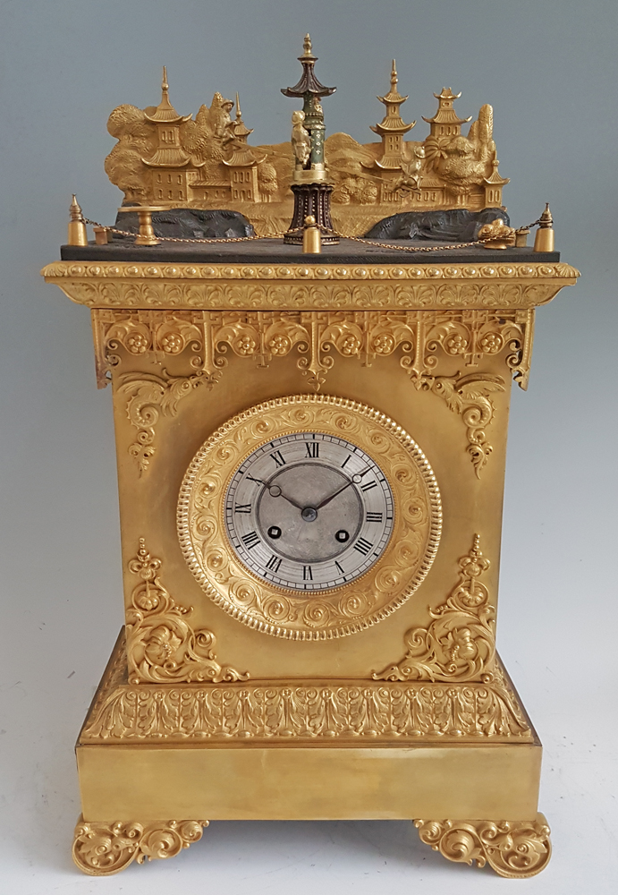 French Ormolu Chinoiserie Automaton Mantel Clock Attributed to J.F.Houdin