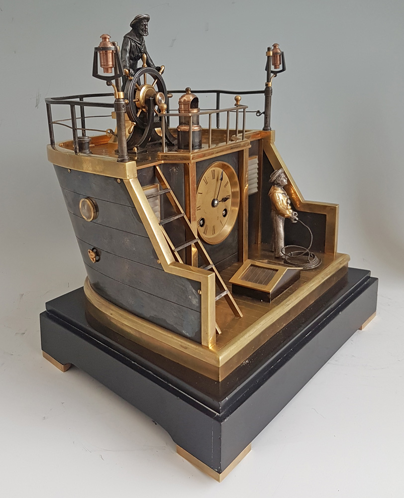 Automaton Industrial series Quarterdeck, Helmsman mantel clock by Guilmet