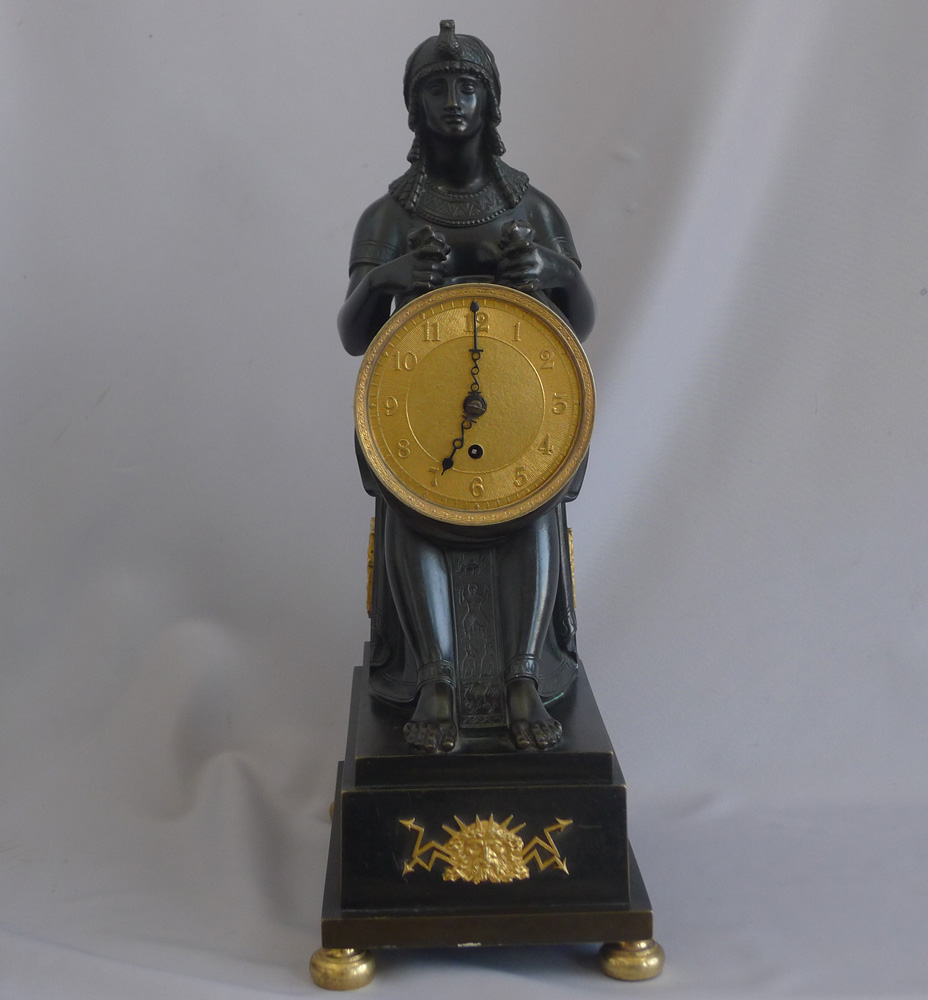 Antique English George III patinated bronze and ormolu Gout d'Egypt clock of Isis.