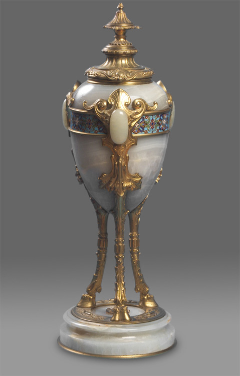 French antique massive urn in cloisonnee, ormolu and onyx.
