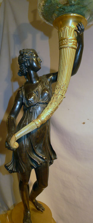 Large French Empire figural candlestick base converted to oil lamp.