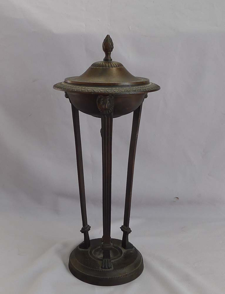 Patinated bronze classical lidded urn.