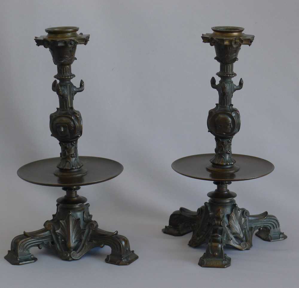Antique French patinated bronze candlesticks