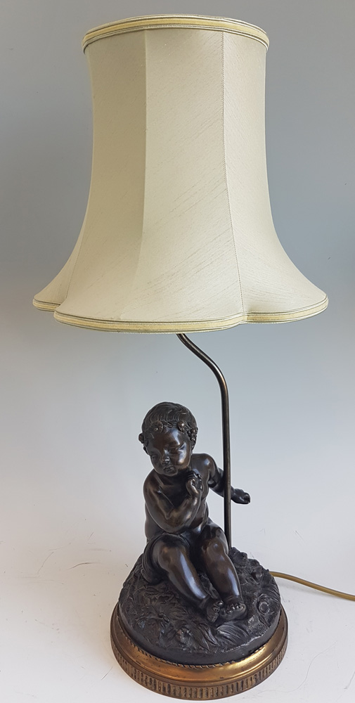 Antique French Table lamp in Gilt and Patinated Bronze