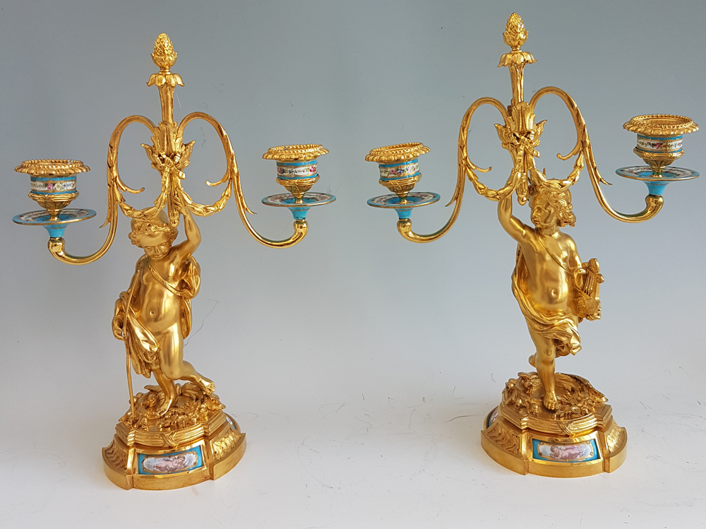 Antique Pair of French ormolu and Porcelain Candelabras
