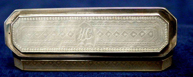 English 18th century George III Silver and engraved mother of pearl toothpick holder.