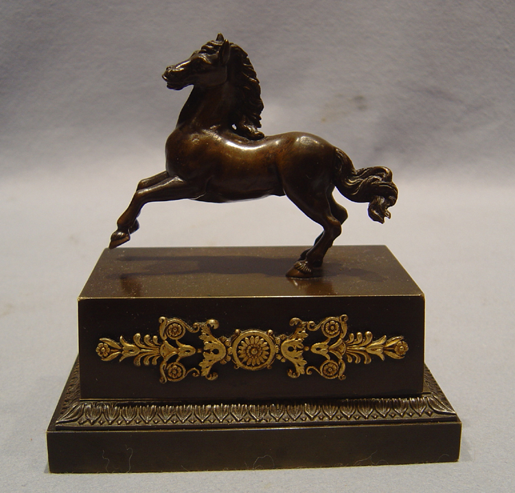 Antique French Empire patinated bronze & ormolu instand with horse