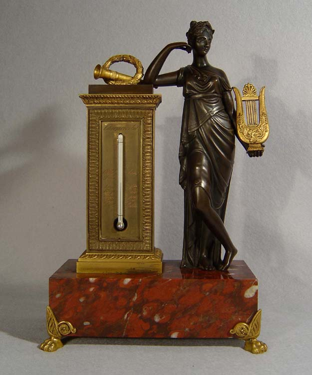 French antique Empire period figural thermometer