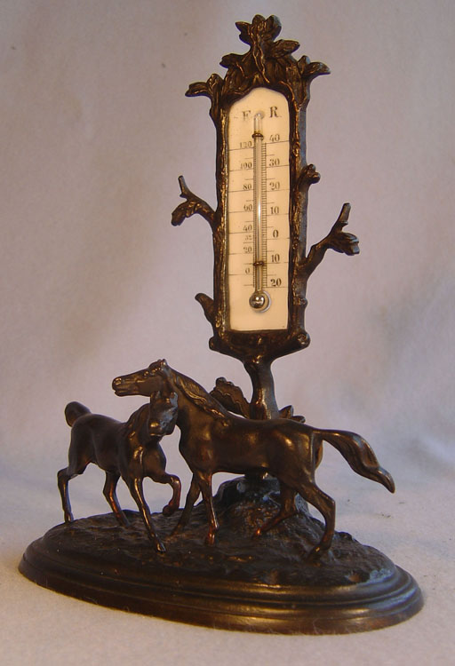 Antique French Grand tour  patinated bronze animalier mounted thermometer.