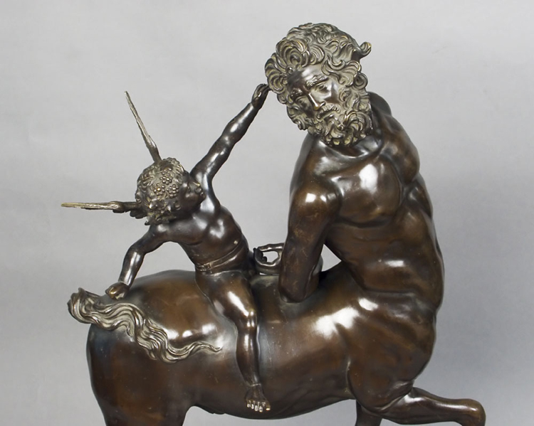 Fine Italian or French Grand Tour Bronze of Centaur and Eros on Sienna Marble base.