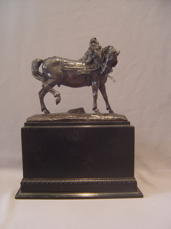 Antique animalier bronze of harnessed horse after Jean-Francois Theodore Gechter.