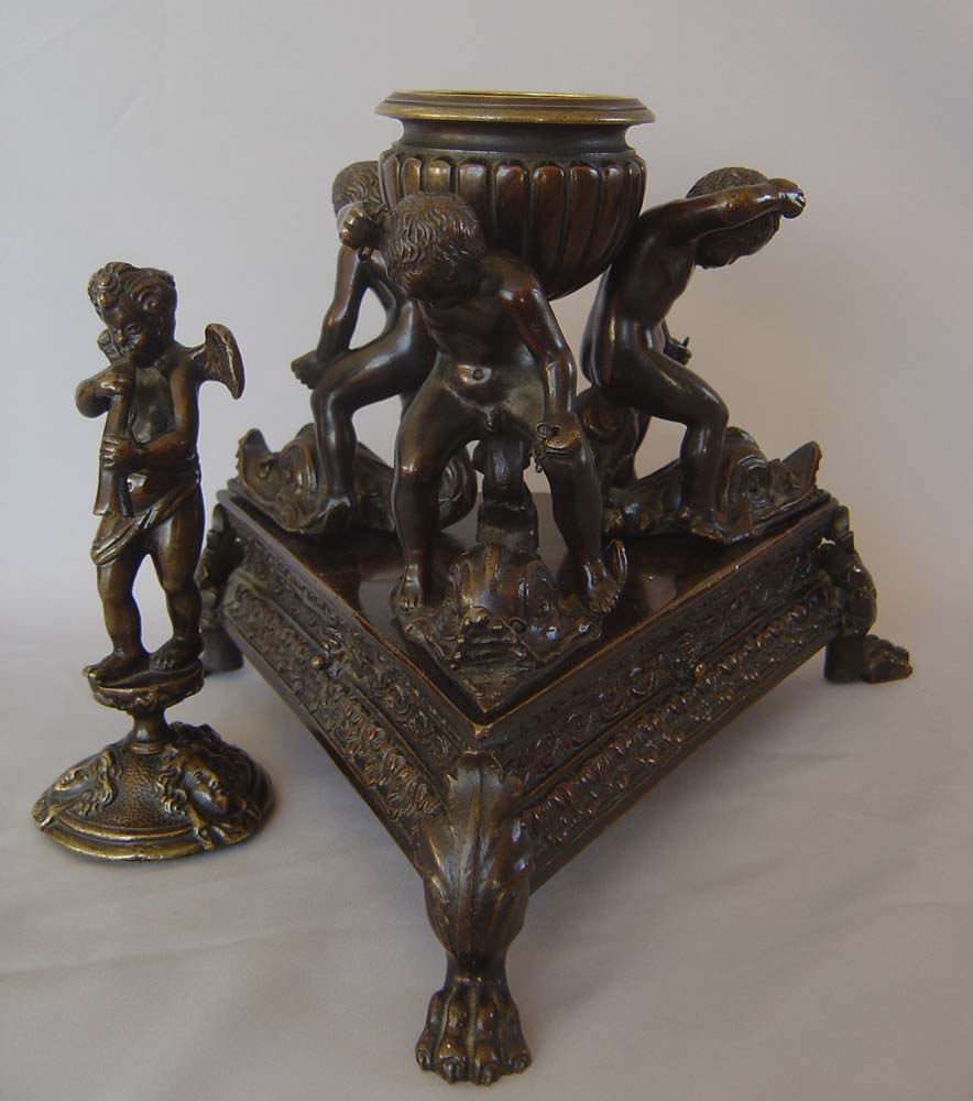 Antique Grand Tour momumental inkwell of children riding dolphins 18th century or earlier.