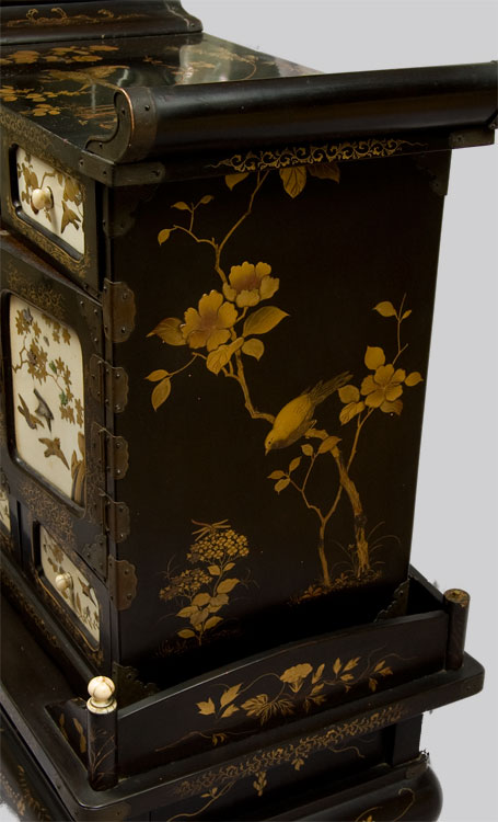 Antique  Shibyama lacquered table cabinet.