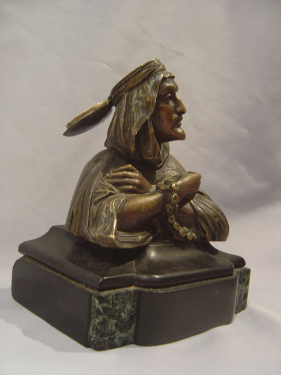 Orientalist antique cold painted bronze inkwell.