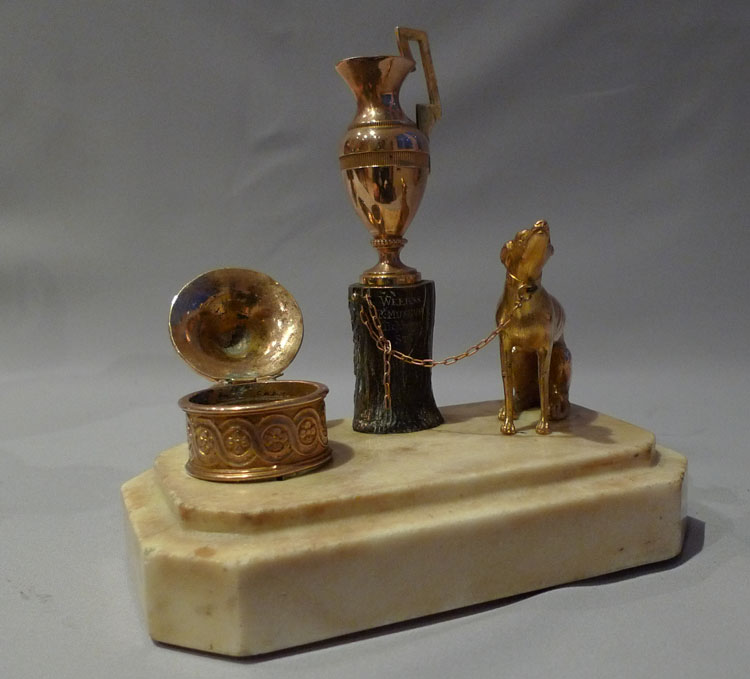 Antique Weeks inkwell with dog, tree stump and urn.