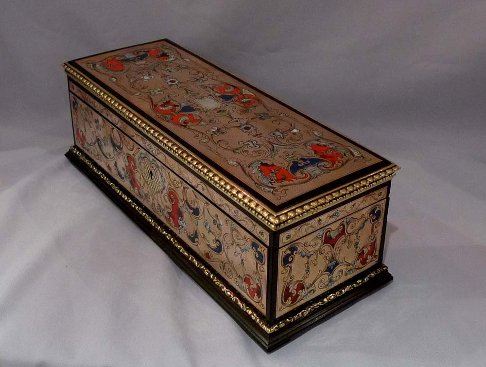 Antique boulle glove box, French.