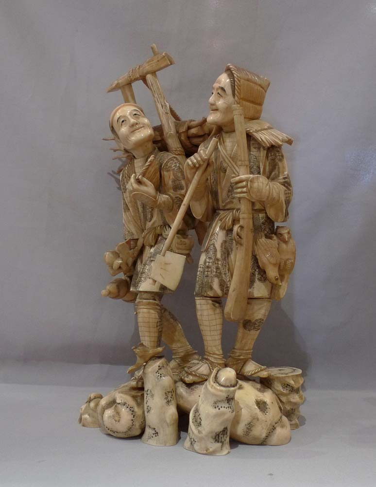 Antique Japanese ivory figural group of large size.