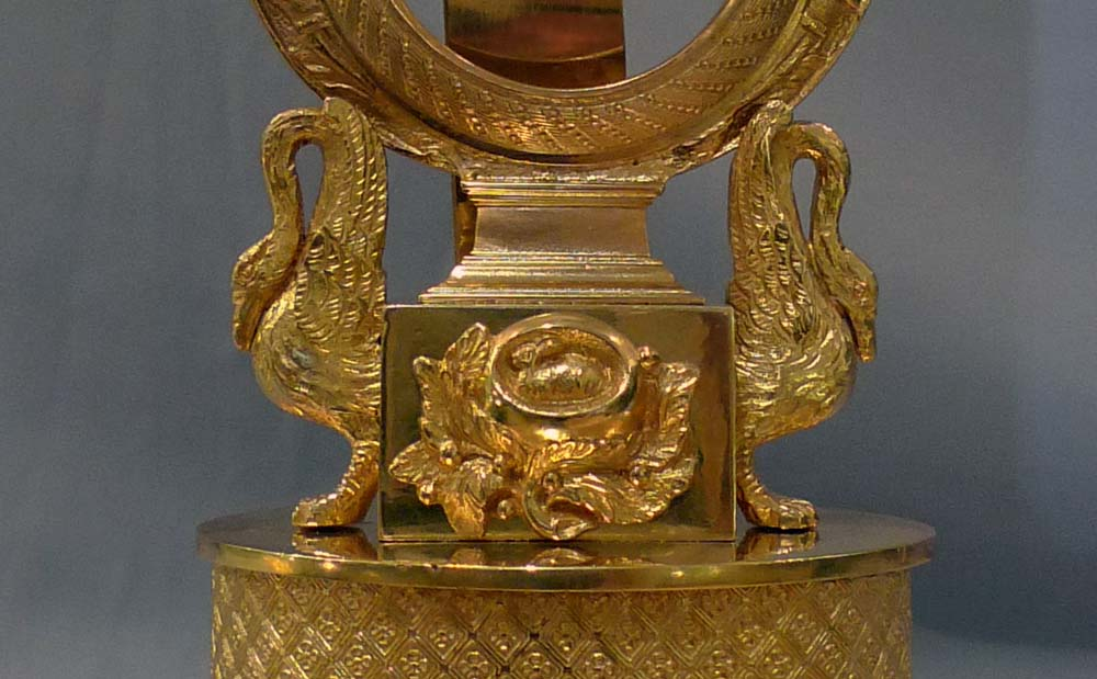Antique ormolu watch holder, Charles X period in form of a lyre clock.