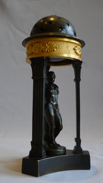 Antique English Regency Pastille burner in ormolu and patinated bronze.