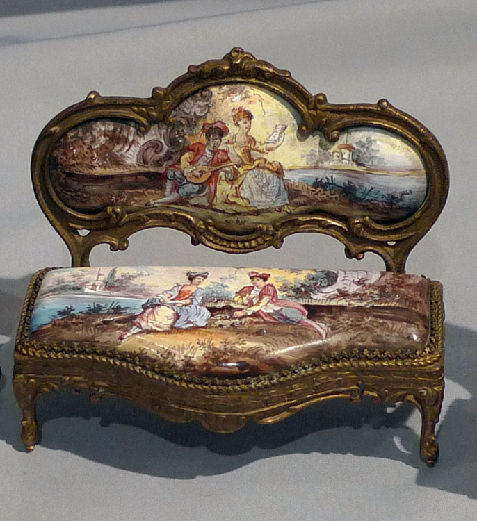 Austrian enamel , hand painted and gilt bronze miniature furniture.