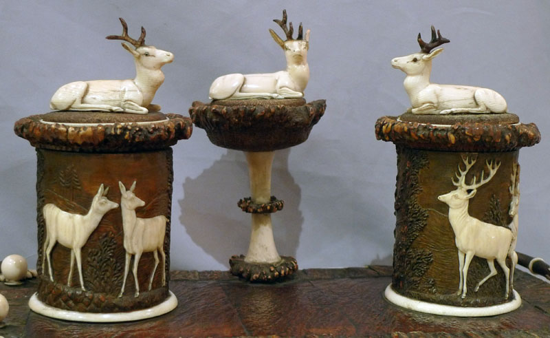 Stag horn ecrier or desk set, 19th century German.