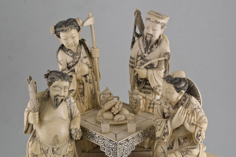 A pair of Antique ivory groups of the Eight Immortals.