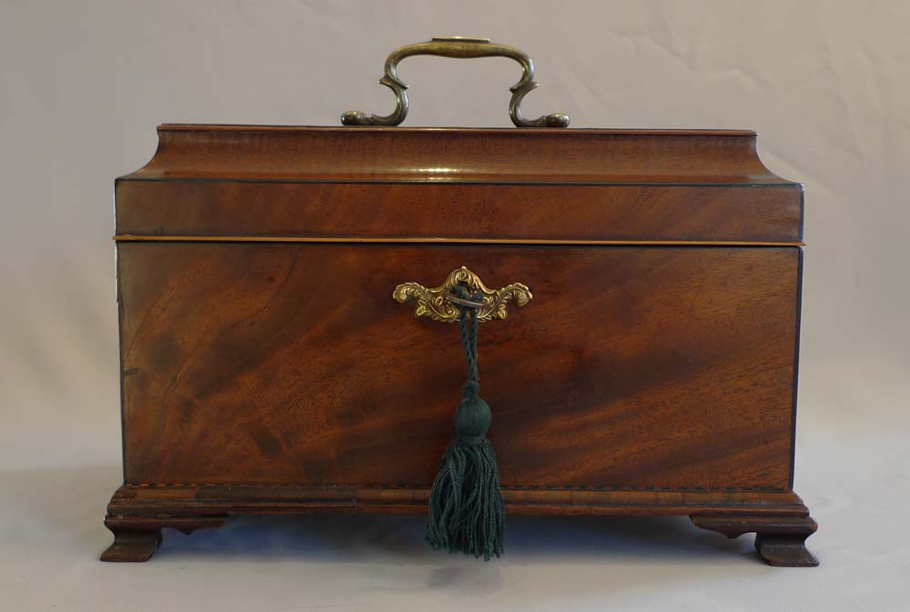 English George III inlaid mahagany triple tea caddy.