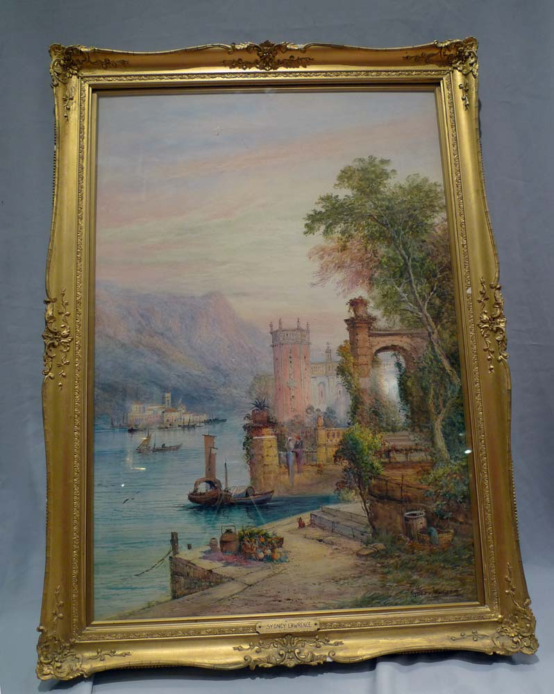 A Pair of Watercolours by Sydney Lawrence of Lake Como and Lake Guarda.