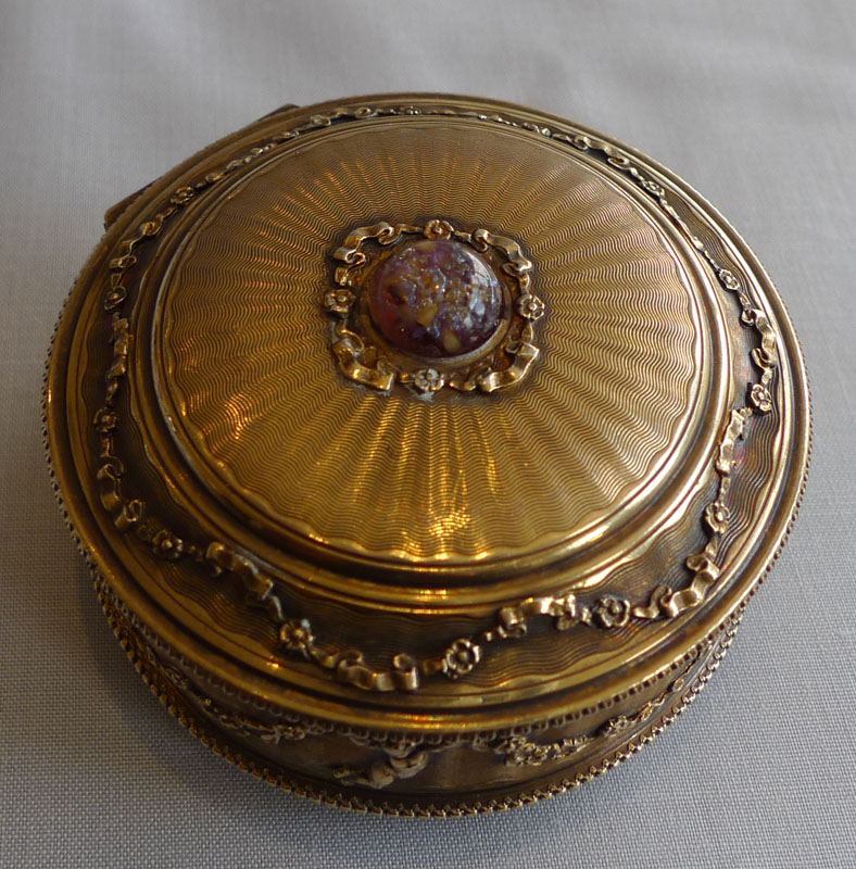 Silver gilt pill box, antique, engine turned with English hallmark for 1909