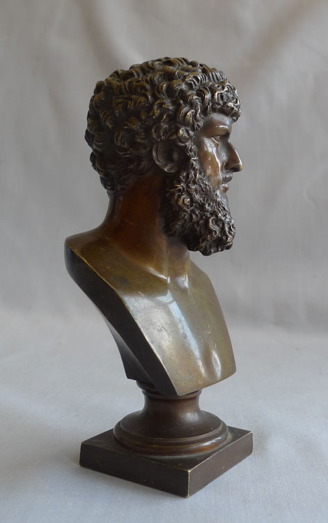 Grand Tour bronze bust of Marcus Aurelius.
