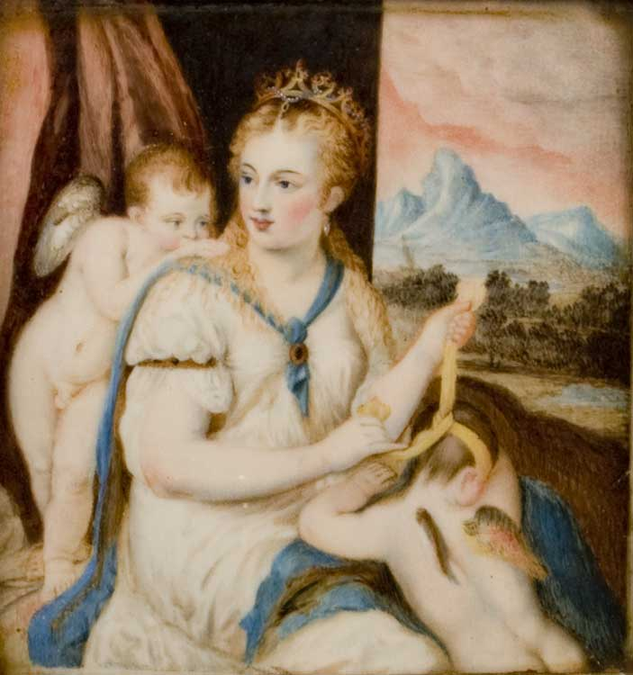Watercolour on ivory of venus with cupids