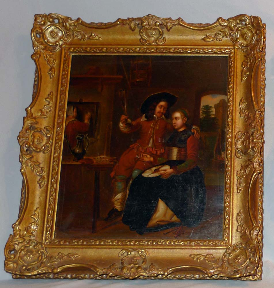 Pair of 19th century framed interior scenes in oil on metal after Dutch Masters.