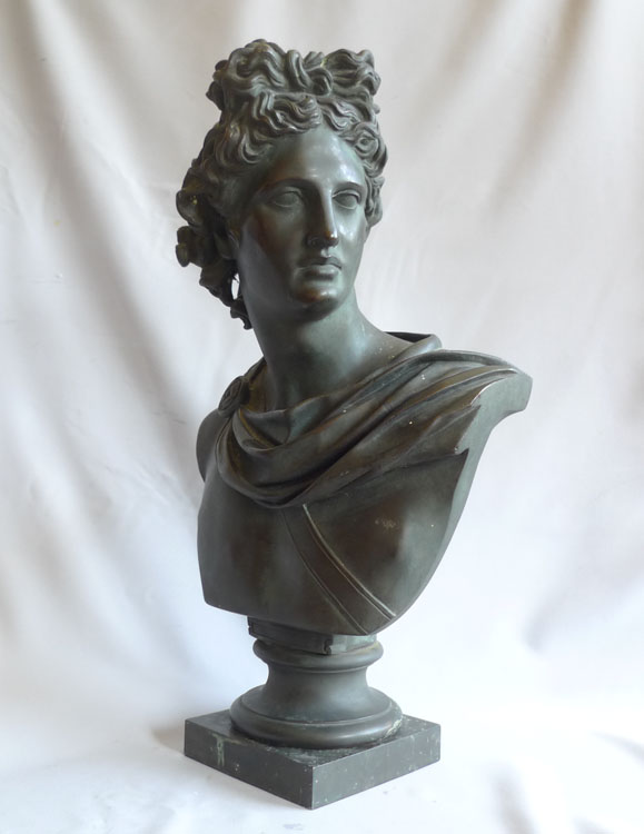 Antique Grand tour bronze bust of the Apollo Belvedere.