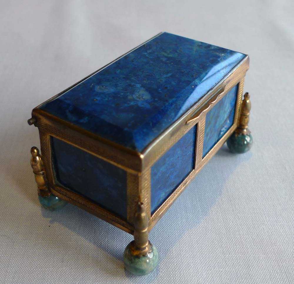 Lapis Lazuli and gilt bronze austro-Hungarian casket.
