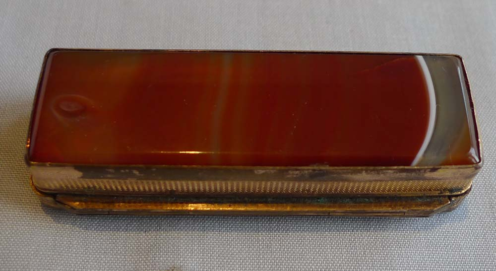 Split agate and gilt bronze tinder box, Austro-Hungarian.