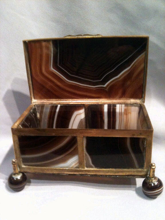 Antique split agate casket in shades of brown and grey, Austro Hungarian.