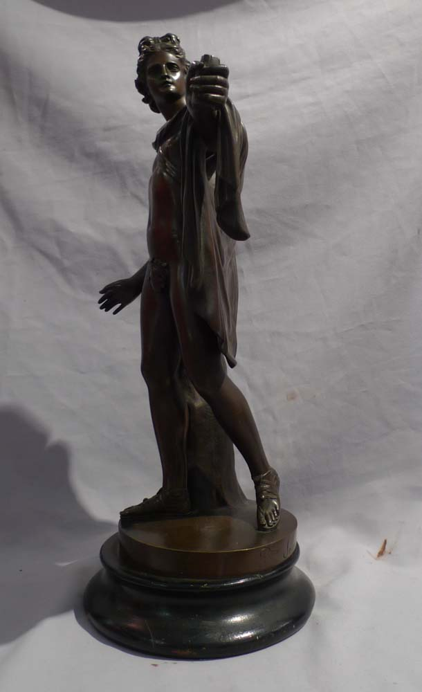 Antique Italian patinated bronze sculpture of the Apollo Belvedere signed