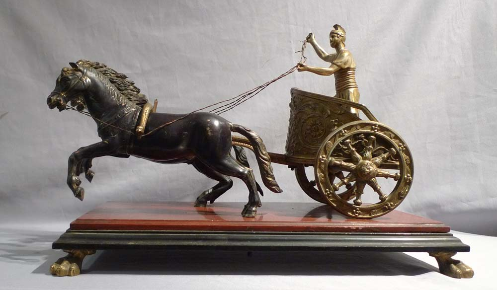 Antique Italian Grand Tour model of chariot on superb marble base.