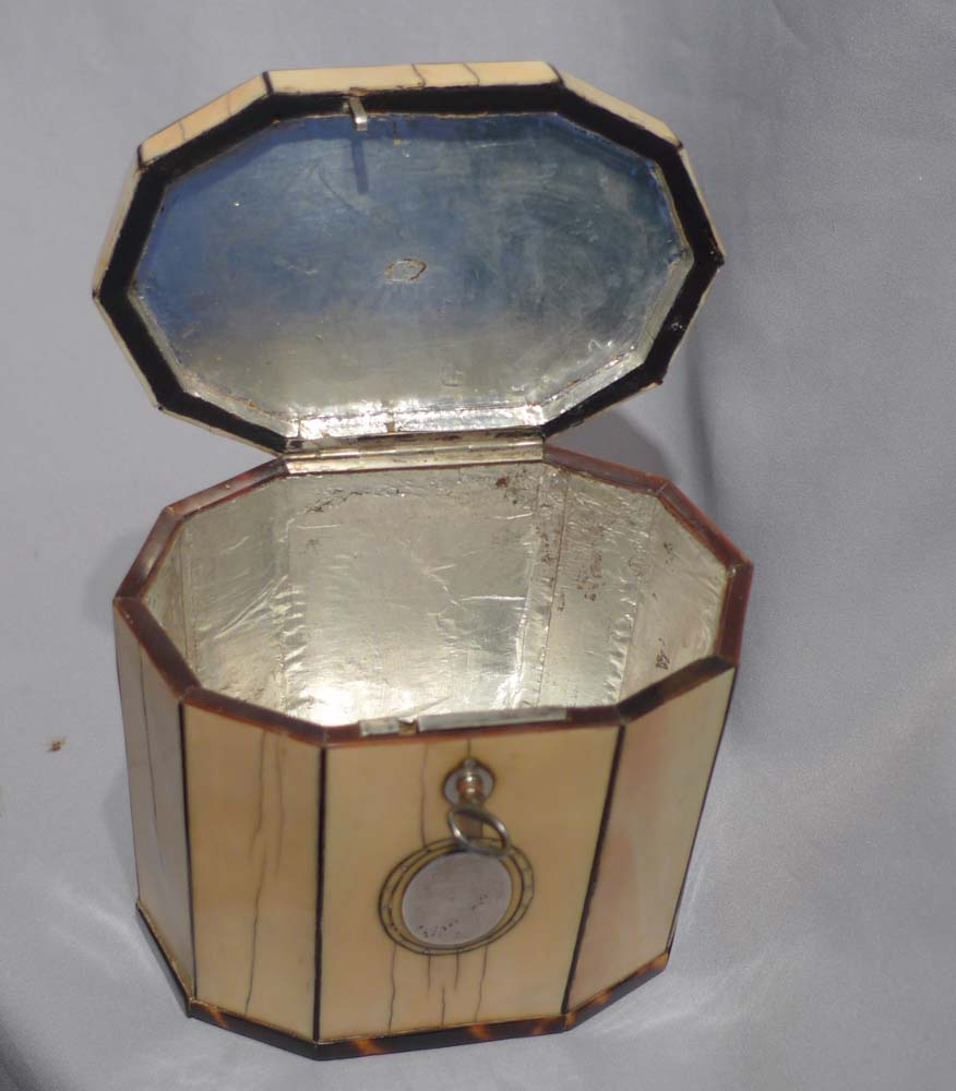 Antique ivory and tortoiseshell English George III ten sided tea caddy.