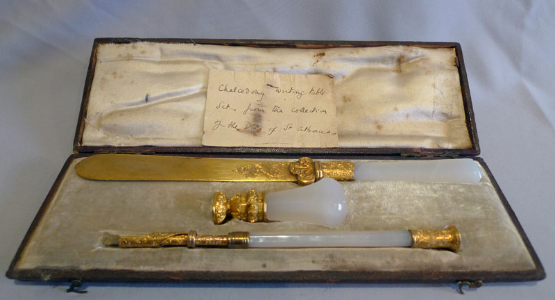 Antique Chalcedony and gilt bronze or ormolu desk set (cased) from Duke of St. Albans.