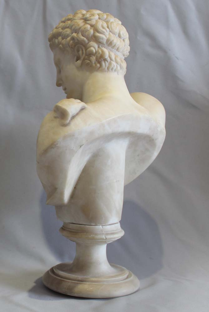 Antique Grand Tour alabaster bust of Hermes on socle.