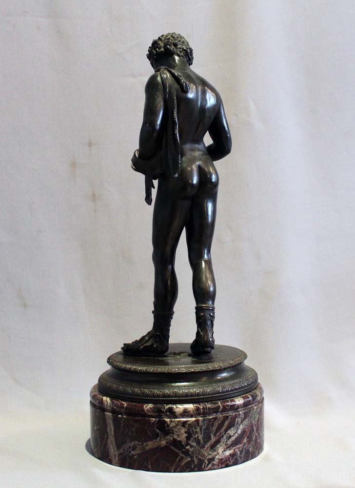 Antique Grand Tour bronze of Narcissus on rouge marble base signed Masulli