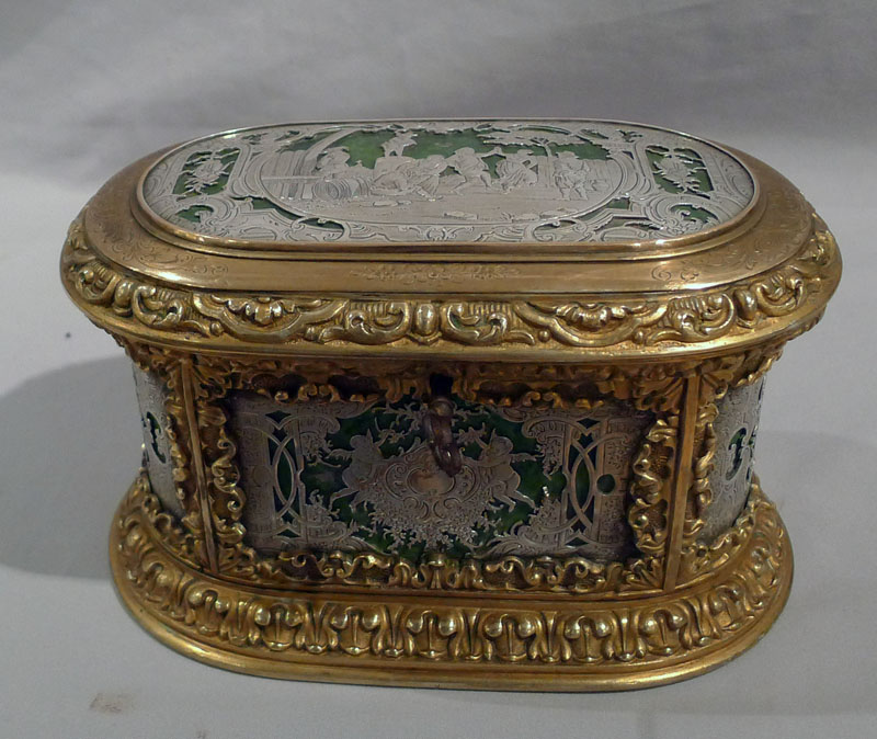 Antique French ormolu and silvered bronze jewelery casket.