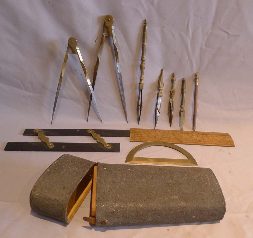 Antique shagreen cased set of drawing instruments dated 1827.