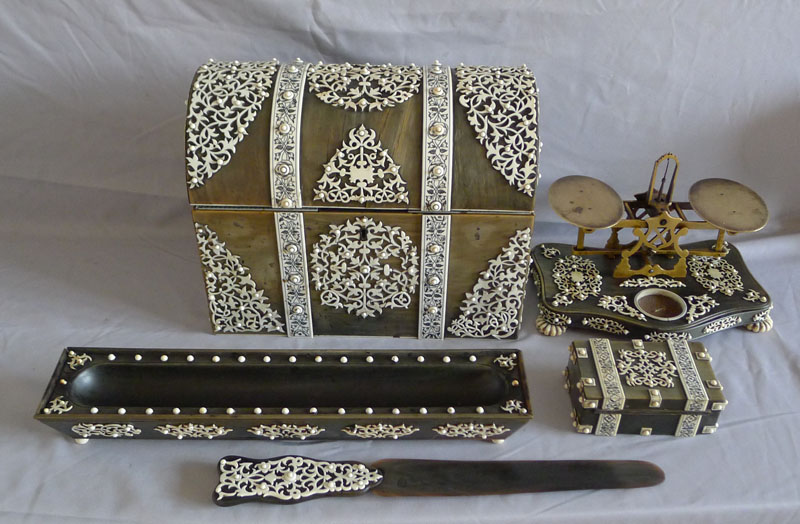 Antique Vizagapatam desk set in horn and ivory with scales signed S.Mordan.