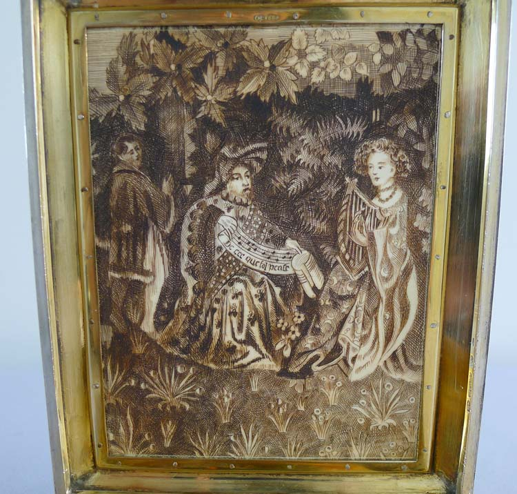 Fine silver gilt, scarlet and hand painted guilloche enamel box with painted and etched ivory scenes