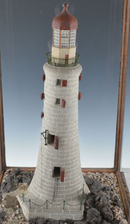 Extremely Rare Antique Ennglish Mahogany Cased Model Of A Lighthouse