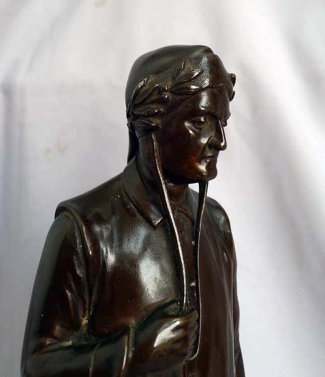 Antique bronze of Dante, full length, rich dark brown patination